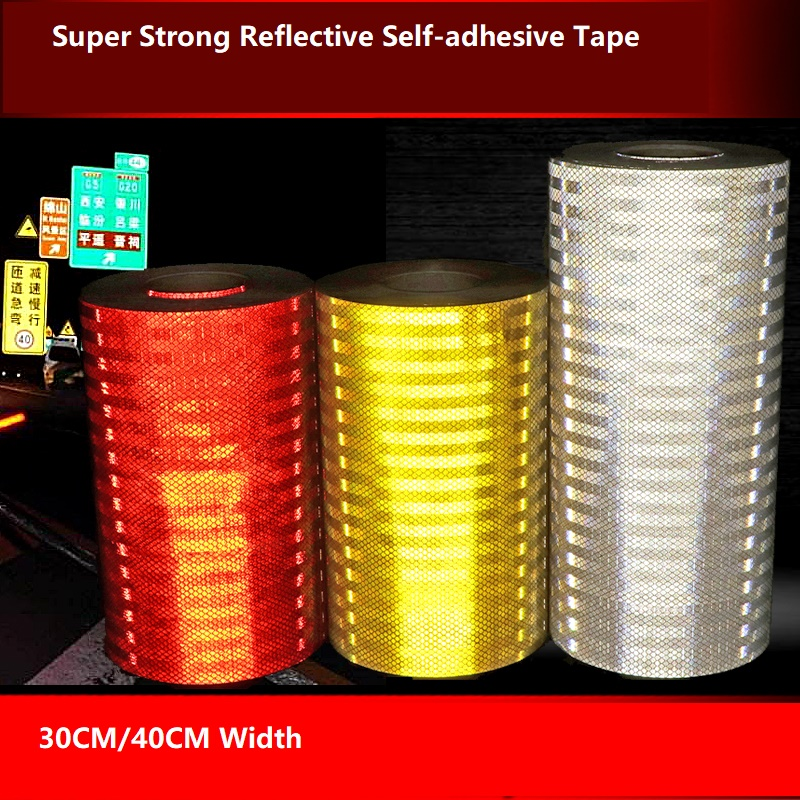 30 / 40cm Wide Super Reflective Tape Car Decorative Sticker Anti-collision High Strong Lingt Warning Sign