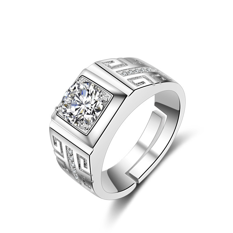 Male Female Luxruy White Zircon Rings Couple Ring Exquisite Crystal Wedding Engagement Fashion Ring