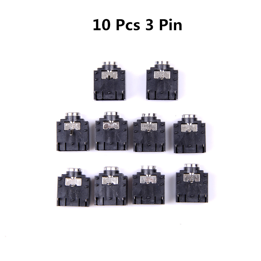 <font><b>10</b></font> Pcs 3 <font><b>Pin</b></font> <font><b>PCB</b></font> Mount Female 3.5mm Stereo Jack Socket <font><b>Connector</b></font> Right Angle <font><b>PCB</b></font> Mounting image