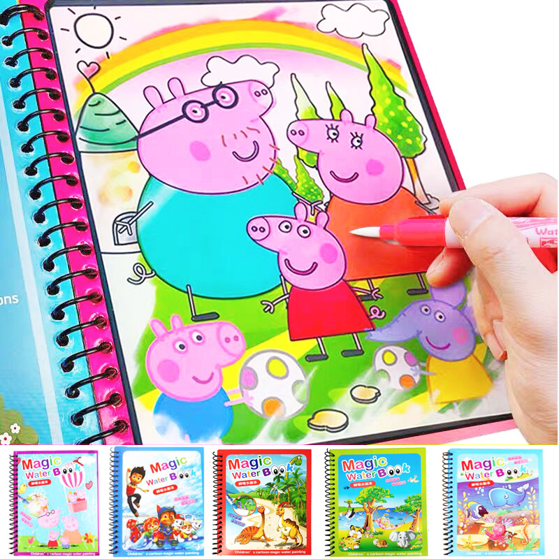 20 Style Magic Water Drawing Book Montessori Coloring Book Doodle Magic & Pen Painting Drawing Board For Kids Toys Birthday Gift