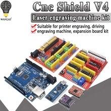 Ücretsiz kargo! CNC kalkanı v3 V4 oyma makinesi 3D yazıcı + A4988 sürücü genişletme kartı NANO 3.0 / UNO R3 ile USB kablosu