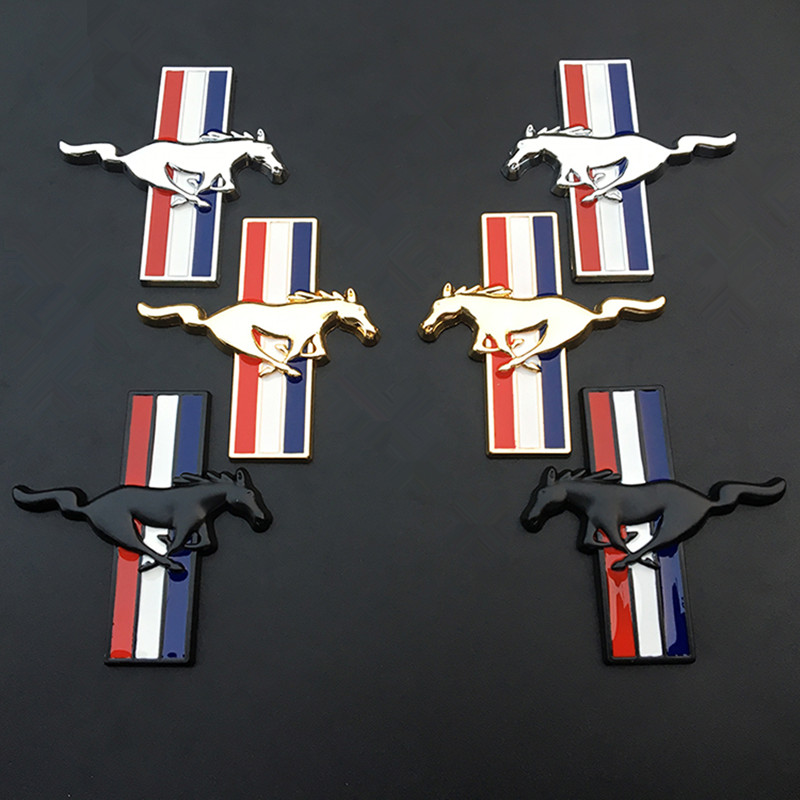 Pair Metal Chrome Silver Mustang Horse Side Fender Badge Emblem Sticker Decal