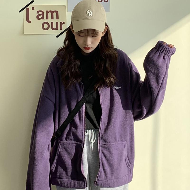 Hoodies Women Zip-up Turn-down Collar Printed Pocket Long Sleeve Korean Style New Trendy Casual BF Ulzzang Harajuku Womens Daily 8