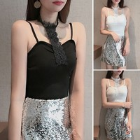 Knitted sling women's summer slim self cultivation slim sexy short strap lace short paragraph exposed navel bottom strap top