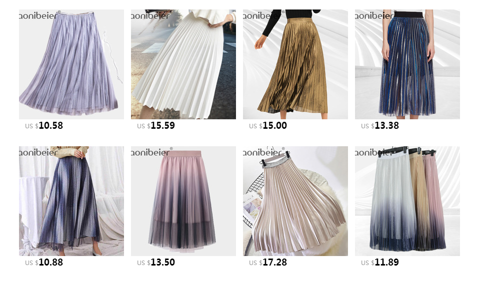 Aonibeier Fashion Women's High Waist Pleated Solid Color Length Elastic Skirt Promotions Lady Black Pink Party Casual Skirts 109