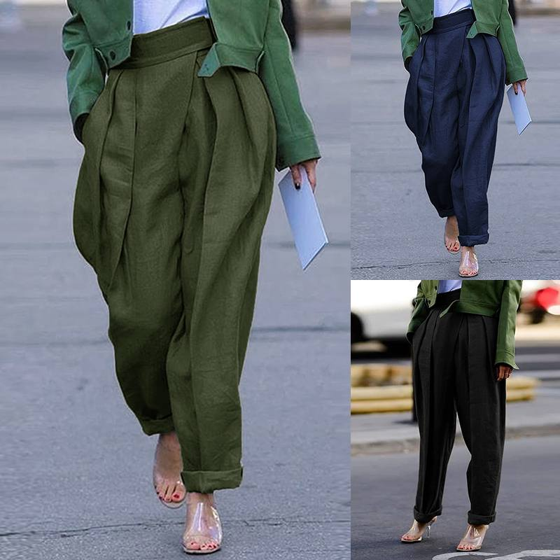 2020 New Fashion Harem Pants ZANZEA Plus Size Women's Pants Casual Solid Pockets High Waist Long Trousers Pantalones Streetwear