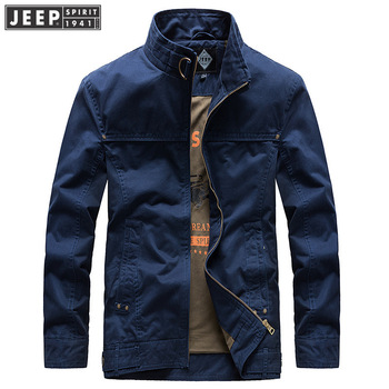 JEEP SPIRIT Brand Jacket Men Casual Cotton Polyester Autumn Coat Men Stand Collar Full Sleeves Windbreaker Men Jacket M-XXXL