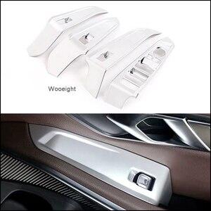 Image 1 - Wooeight 4 pçs matte prata porta do carro braço painel lidar com titular botão interruptor de elevador janela capa guarnição apto para bmw série 3 2020
