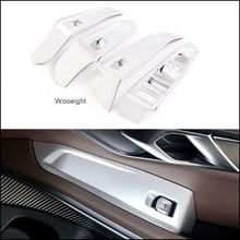 Wooeight 4Pcs 매트 실버 자동차 도어 팔걸이 패널 핸들 홀더 창 리프트 스위치 버튼 커버 트림 맞는 BMW 3 시리즈 2020