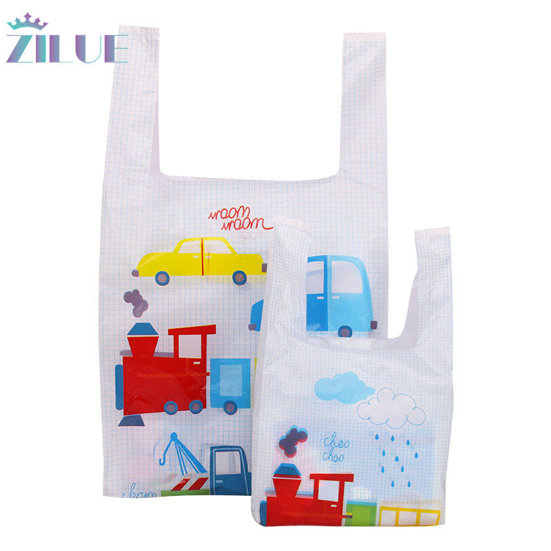 Zilue100pcs Hand Plastic Gift Bag Cloth Storage Shopping Bag With Handle Party Wedding Plastic Toy Cake Child Gift Wrapping Bags