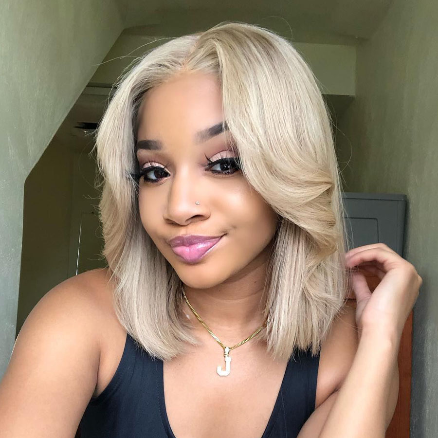Vanilla Blonde Short Bob Full Lace Human Hair Wigs Middle Part 150density 13x6 Deep Part Lace Front Wigs Pre Plucked Hairline Human Hair Lace Wigs Aliexpress