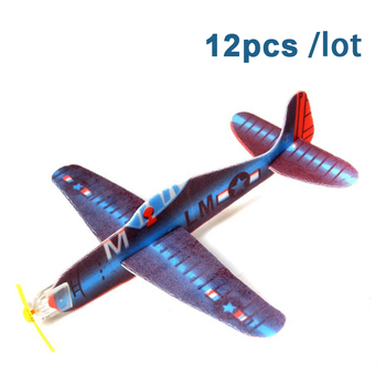 12pcs/lot Kid DIY Hand Throw Flying Glider Plane Toy EPP Foam Plane Ultralight Aircraft Airplane Model Toy Kid Outdoor Toy Game kf606 2 4ghz rc airplane flying aircraft epp foam glider toy airplane 15 minutes flight time rtf foam plane toys kids gifts