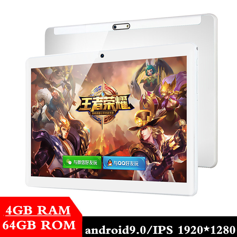New Google Play Android 9.0 OS 10.1 Inch Tablet Octa Core 4GB RAM 64GB ROM 2.5D Glass WIFI Tablets Dual SIM Card 3G 4GLTE