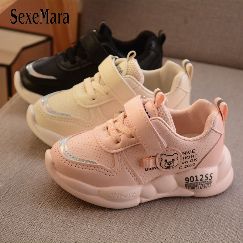 2020 New Children Shoes Kids Boys Girls Cute Bear Leather Breathable Sport Running Sneakers Shoes Baby Calzado Infantil C12182