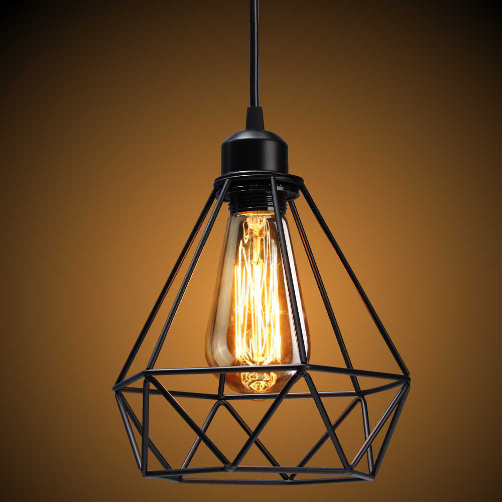 Vintage Lamp Shade Bulb Guard Lamp Cage Metal Pendant Fixture Ceiling Light Wall Lamp Guard Black/Gold diamond shape abajur D35