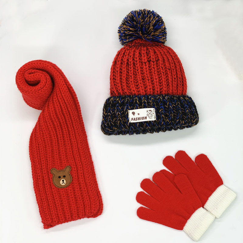 3-10years Kids Hat And Scarf Set With Gloves 3pc Set Boys Girls Knitted Winter Hat Gloves Set Bear Patch Red White