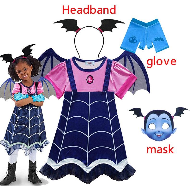 Kids Vampire Costume Headband Girls Princess Summer Dresses Vampirin Children Birthday Party Fancy New 2019 Vampirina Dress 3-8Y