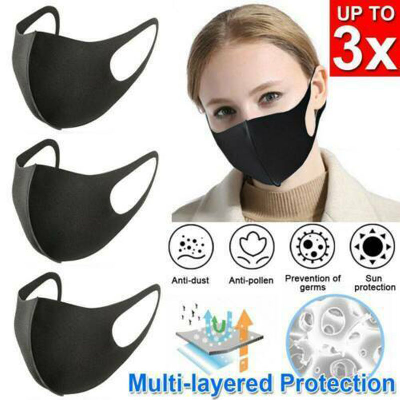 3pcs Unisex PM2.5 Mouth Mask Anti Haze Dust Mask Nose Filter Windproof Face Muffle Bacteria Flu Fabric Cloth Respirator