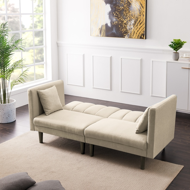 Dual Purpose Futon Sofa Bed Sleeper with 2 Pillows 3-Color Linen Blend Fabric 73.6x32.3x31.5 Inch U.S. Stock 6