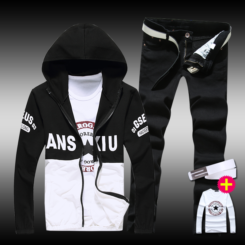 Thin Mens Casual Set Jacket Pants 2pcs Hooded Coats Long Sleeve Long Trousers Letters Printed Boys Sweat Suit Set A65