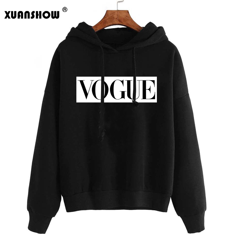 XUANSHOW 2019 Women Hoodies Sweatshirts Autumn Winter Long Sleeve Hoody Jumper Pullover Top Blouse Bluzy Damskie Sudadera Mujer
