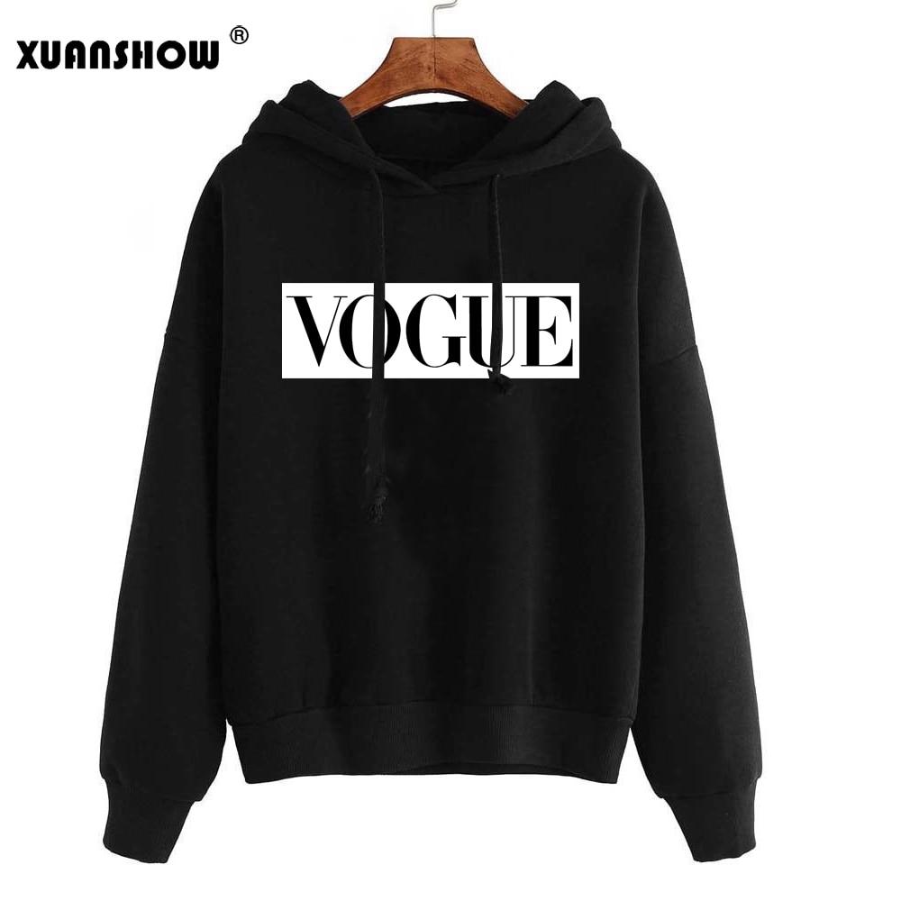 XUANSHOW 2019 Women Hoodies Sweatshirts Autumn Winter Long Sleeve Hoody Jumper Pullover Top Blouse Bluzy Damskie Sudadera Mujer