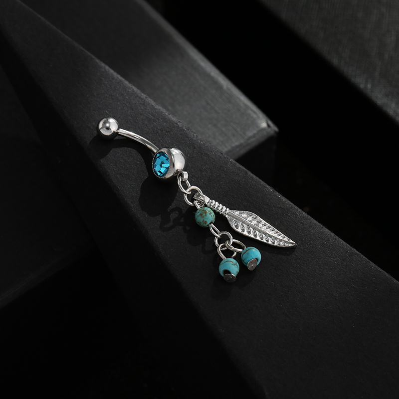 Stylish Crystal Ball Leaf Dangle Piercing In The Navel Ombligo Belly Button Bar Barbell Rings Body Jewelry