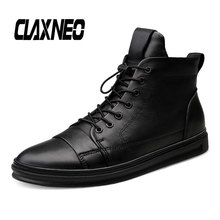 CLAXNEO Man Winter Boots Plush Wool Fur Male Boot Genuine Leather Mens Shoes Big Size