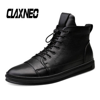 CLAXNEO Man Winter Boots Plush Wool Fur Male Boot Genuine Leather Men's Shoes Big Size