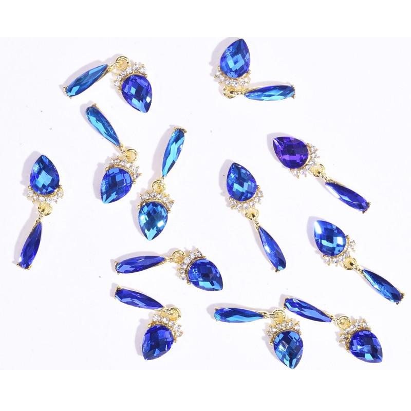 10 шт., 3D украшения для ногтей, стразы, хрустальные драгоценные камни, очаровательные ювелирные украшения, цветок, подвеска, цепочка, жемчуг, ...