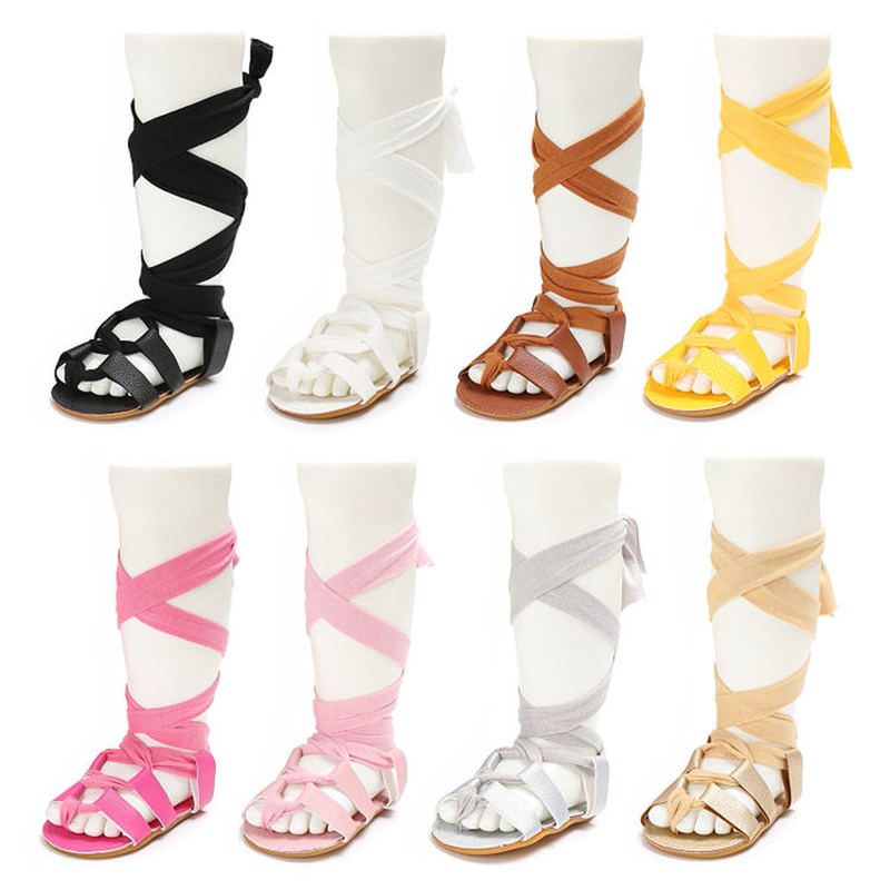 Infant Girls Summer Gladiator Sandals Lace Ups Bundled High Tops Soft Rubber Sole First Walking Baby Shoes 8-colors