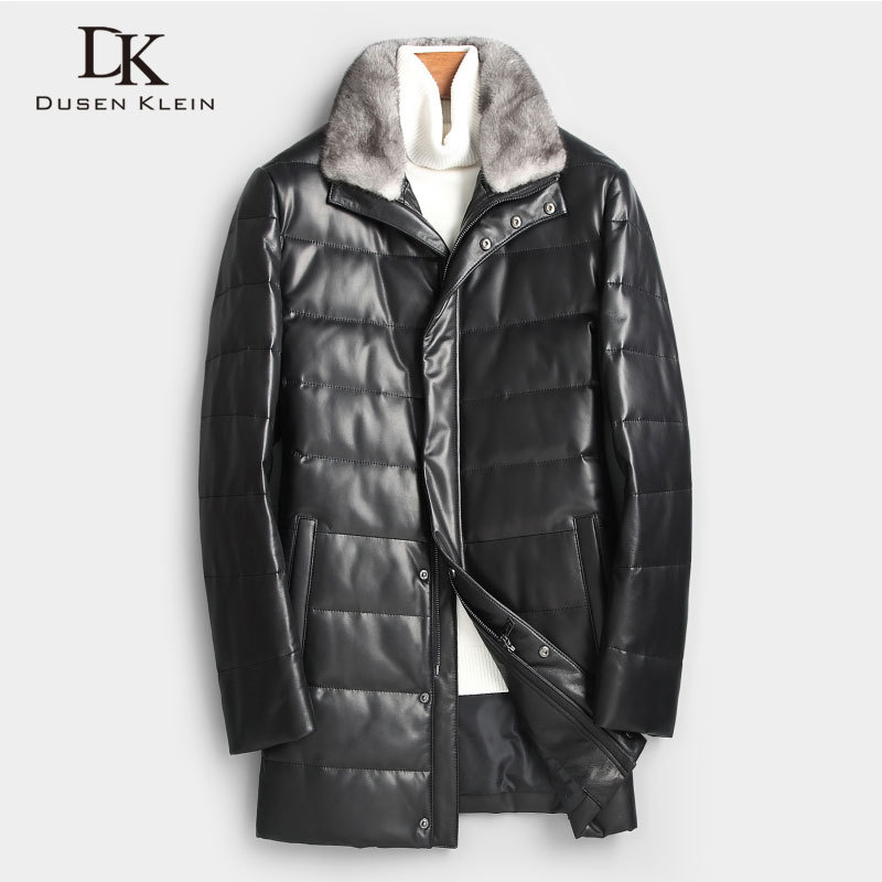 Men Genuine Leather Down Jacket Winter Warm Long Coat Mink Fur Collar Outerwear Sheepskin  New Designer Brand Luxury X89802