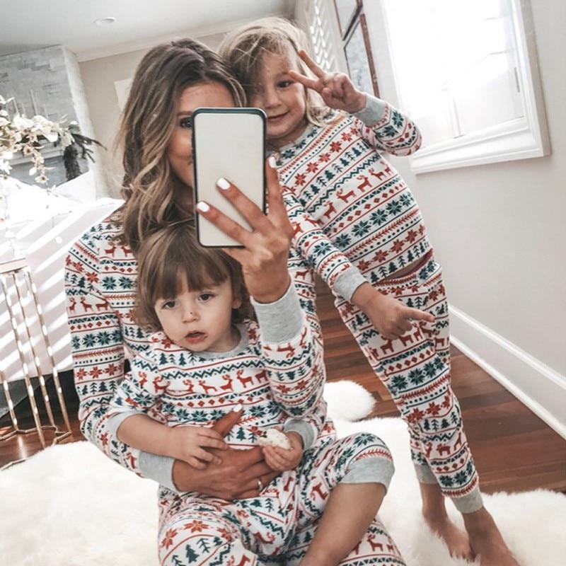 Ensemble de vêtements de noël pour enfants | Pyjama doux deux pièces, en coton, avec impression, tenue Parent-enfant, Service à domicile