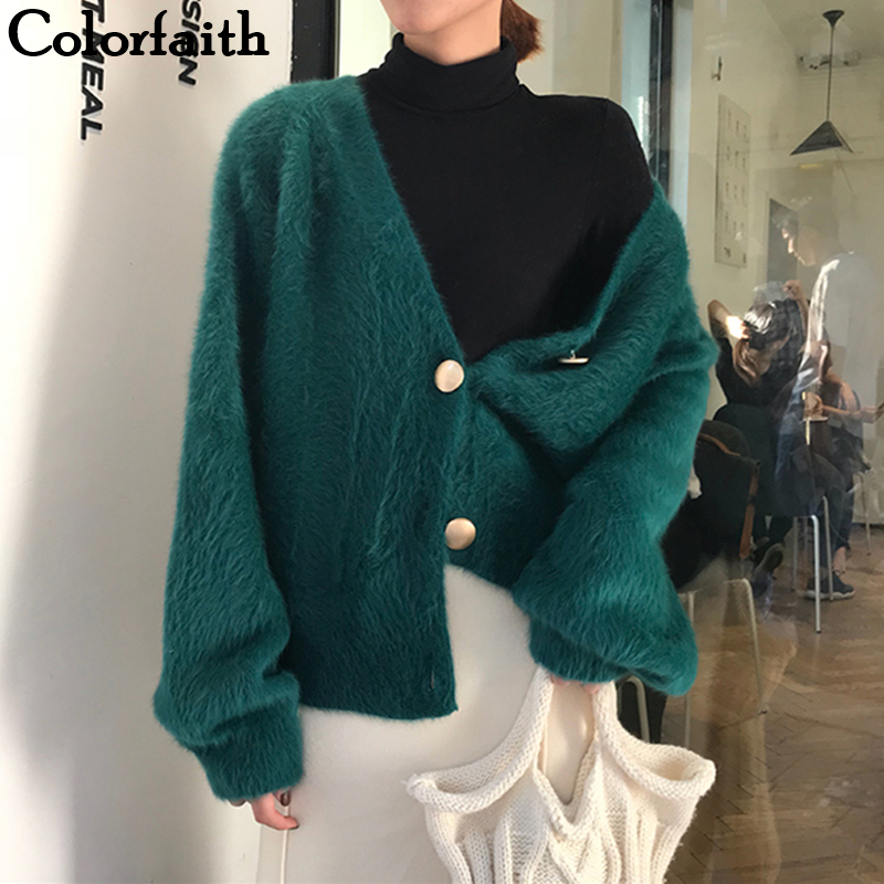 Colorfaith Women's Sweaters Autumn Winter 2019 Cardigans Knitted Button Single Breasted Fashion Korean Style Solid Tops SWC8119