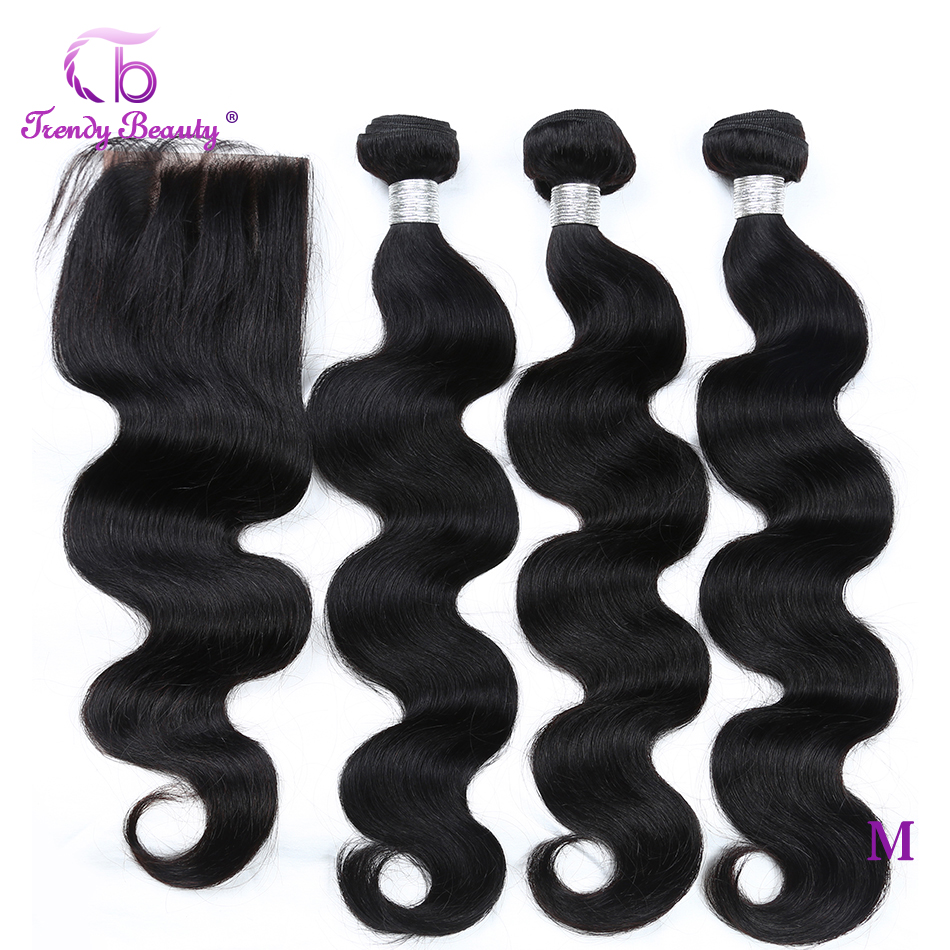 Trendy Beauty Peruvian Body Wave Hair 3 Bundles With Closure 4x4 Inches Human Hair Extensions Non-remy Bundles With Closure