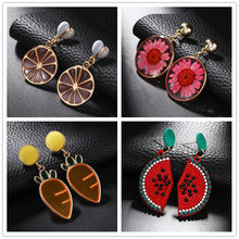 Hip-hop Statement Jewelry Fruit Earrings For Women Unique Design Big Carrot Lemon Watermelon Earrings Brincos Party Accessories(China)