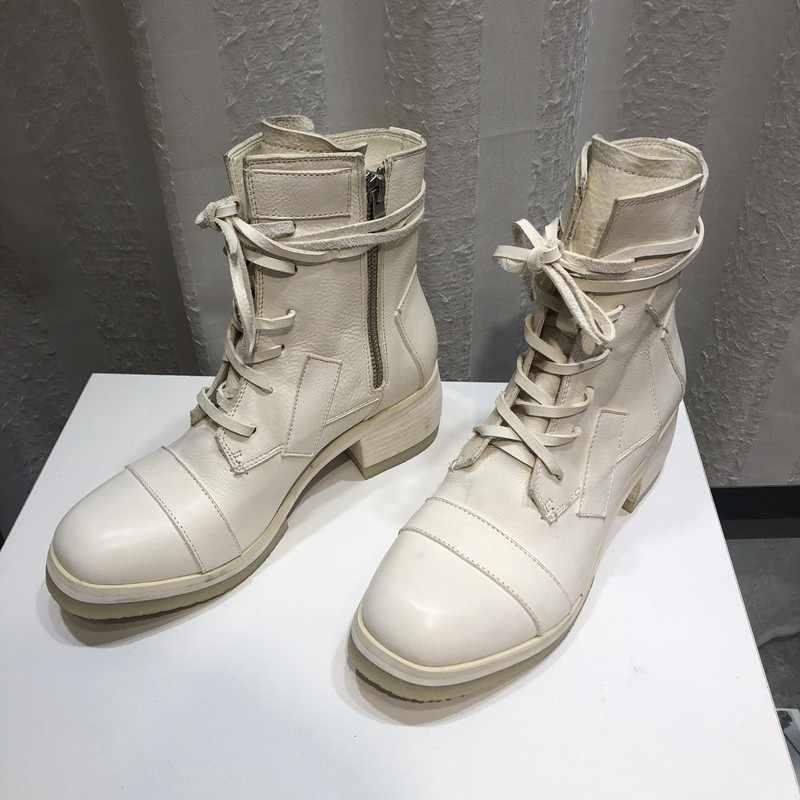 Diseñador de nueva marca militar Vintage con cordones de punta redonda para mujer botas altas de cuero genuino de piel de oveja con cremallera zapatos de tacón bajo para mujer