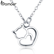 BAMOER Authentic 100% 925 Sterling Silver Lovely Cat Exquisite Women Pendant Necklace Luxury Sterling Silver Jewelry Gift SCN188(China)