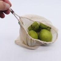 가정용 주방 보관을위한 면화 야채 가방 재사용 가능한 생산 메쉬 과일 가방 친환경 조직