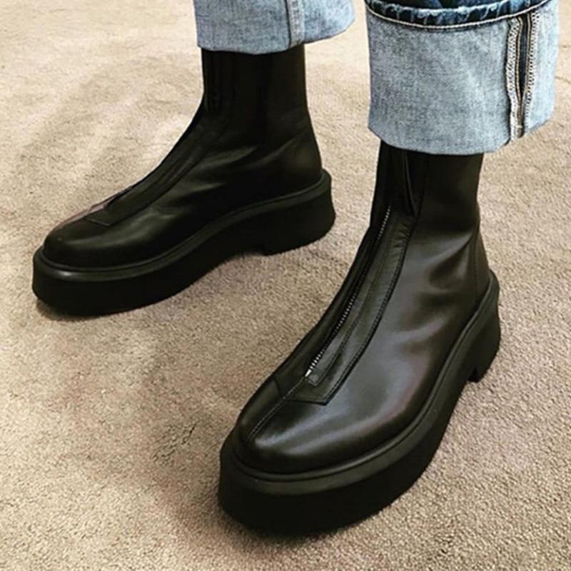Prova perfetto couro genuíno cor sólida fundo grosso bota da motocicleta feminina dedo do pé redondo zíper-sid wearproof sapatos vulcanizados