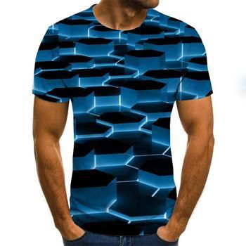 3D T-shirt men's irregular pattern printed short sleeve summer casual round neck T-shirt fun shape pattern street clothing stripe pattern round neck stitching design t shirt in black