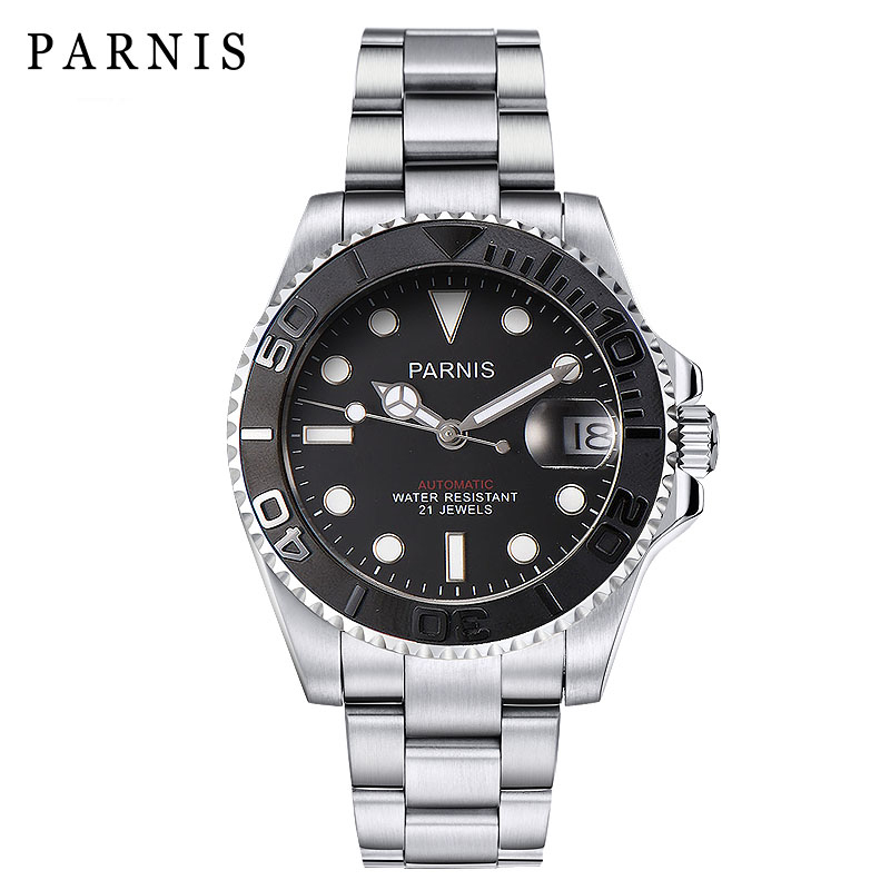 Parnis Watch Men  Automatic Self-Wind Movement waterproof Sapphire Crystal Mechanical Watches Reloj Hombre