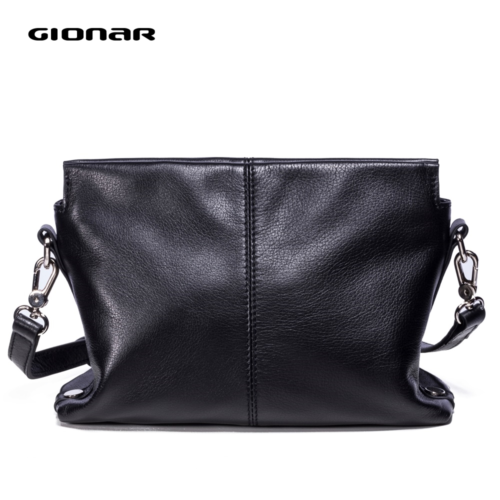 GIONAR High-end Vintage Real Leather Crossbody Bags Luxury Brand 2019 Soft Small Purses And Handbags Black Messenger Bag