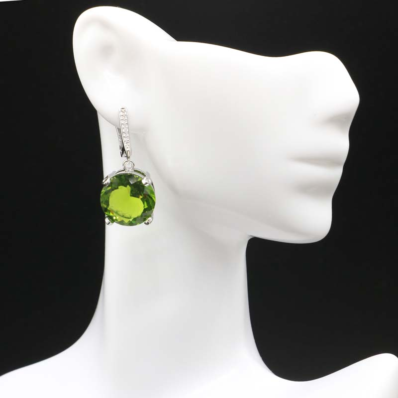 32x15mm Pretty SheCrown Green Peridot Pink Tourmaline CZ Gift For Sister Silver Earrings