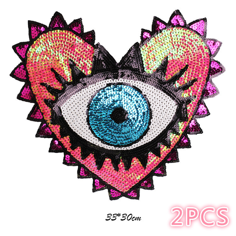 New Super-large Sequins, Loving Eyes, Embroidery Patches, Garment Accessories, Jeans Decorative Non-backing Glue