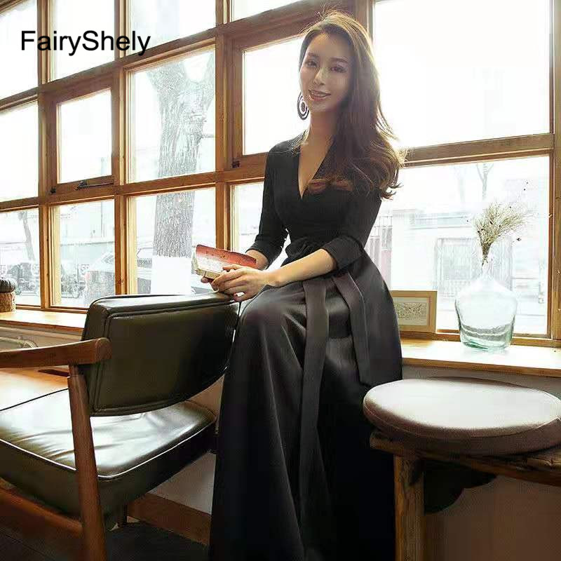 FairyShely 2019 Spring Maxi Long Dress Women Sexy Black Deep V Neck Club Bodycon Dress Celebrity Evening Party Dress Vestidos