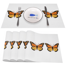 BUTTERFLY Heat-Resistant Placemats Stain Resistant Anti-Skid Washable PVC/Polyeste Table Mats Woven Vinyl Placemats, Set of 4PCS
