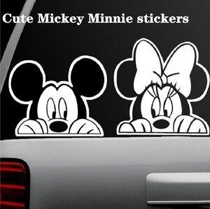 Image 2 - おかしいミッキーマウス車のステッカーカットのぞきカバーかわいい漫画カラフルな人格ファッションステッカー窓と車のテール