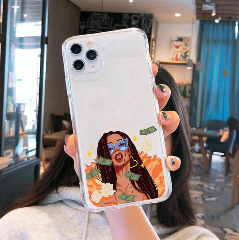 اغلفة هاتف فتاة سوداء افرو من GYKZ اصنع المال لا اصدقاء لهواتف ايفون 11 برو 12 XR X XS MAX SE20 7 8 6Plus غلاف سيليكون شفاف