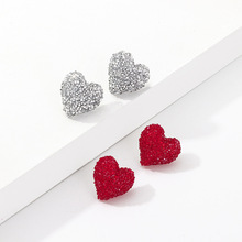 Vintage Red Love Heart Earrings Retro Trending Women Fashion 2019 Woman Accesoires Glitter
